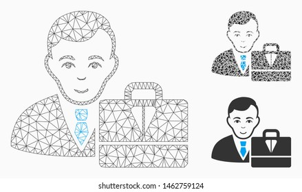 Mesh ton accounter model with triangle mosaic icon. Wire frame triangular mesh of ton accounter. Vector composition of triangle elements in various sizes, and color tints.