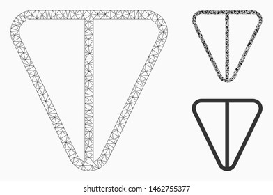 Mesh ton currency model with triangle mosaic icon. Wire frame polygonal mesh of ton currency. Vector mosaic of triangle elements in various sizes, and color hues. Abstract flat mesh ton currency,