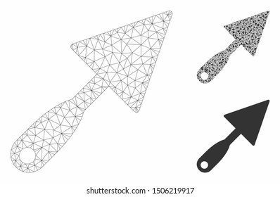 Mesh trowel model with triangle mosaic icon. Wire carcass polygonal mesh of trowel. Vector collage of triangle parts in different sizes, and color shades. Abstract 2d mesh trowel,