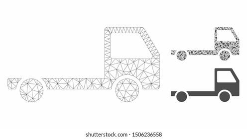 Mesh truck chassis model with triangle mosaic icon. Wire carcass triangular mesh of truck chassis. Vector mosaic of triangle parts in variable sizes, and color tinges. Abstract 2d mesh truck chassis,