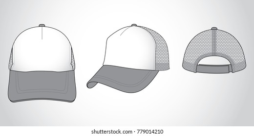 Mesh Trucker Cap Design White-Gray With Adjustable Hook and Loop Tape Strap Vector.