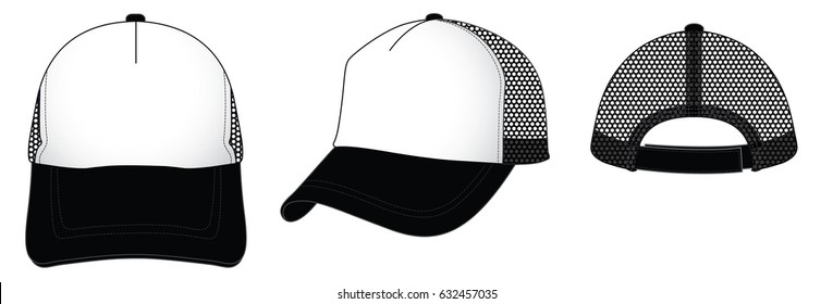 Mesh Trucker Cap With White-Black, Adjustable Strap Back With Hook And Loop Tape.Front, Perspective And Back View Vector.