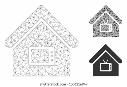 Mesh TV office model with triangle mosaic icon. Wire carcass polygonal network of TV office. Vector mosaic of triangle parts in different sizes, and color tints. Abstract 2d mesh TV office,
