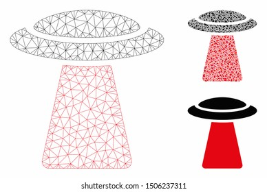 Mesh UFO ray model with triangle mosaic icon. Wire carcass triangular mesh of UFO ray. Vector mosaic of triangles in various sizes, and color hues. Abstract flat mesh UFO ray,