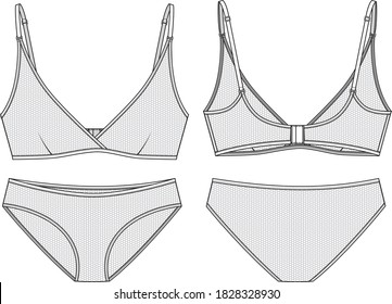 Mesh Underwear set technical illustration. Editable bralette and mini panty flat sketch