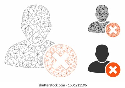 Mesh user delete model with triangle mosaic icon. Wire frame polygonal mesh of user delete. Vector composition of triangle elements in various sizes, and color tones. Abstract flat mesh user delete,