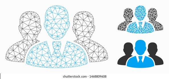 Mesh user group model with triangle mosaic icon. Wire carcass polygonal mesh of user group. Vector mosaic of triangle elements in different sizes, and color tones. Abstract flat mesh user group,