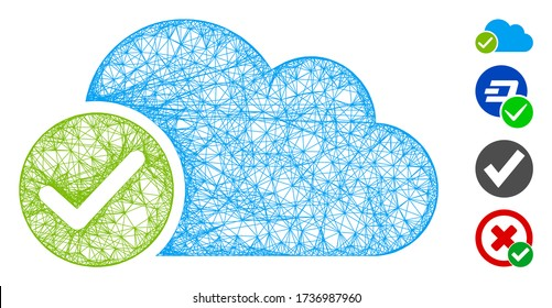 Mesh valid cloud web icon vector illustration. Model is based on valid cloud flat icon. Mesh forms abstract valid cloud flat model. wireframe flat web network isolated on a white background.