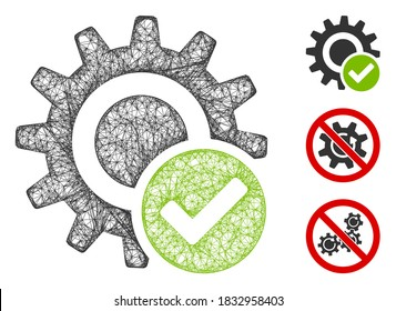 Mesh valid settings gear polygonal web icon vector illustration. Carcass model is based on valid settings gear flat icon. Triangle network forms abstract valid settings gear flat model.