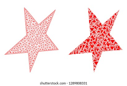 Mesh vector asymmetrical star with flat mosaic icon isolated on a white background. Abstract lines, triangles, and points forms asymmetrical star icons.