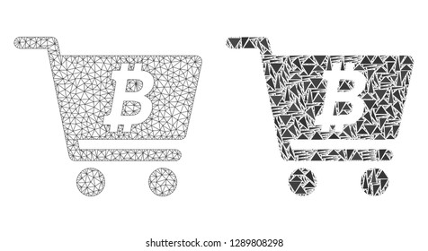 Mesh vector bitcoin webshop with flat mosaic icon isolated on a white background. Abstract lines, triangles, and points forms bitcoin webshop icons.