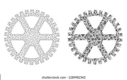 Mesh vector clock gearwheel with flat mosaic icon isolated on a white background. Abstract lines, triangles, and points forms clock gearwheel icons.