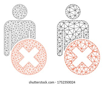 Mesh vector delete man icon. Mesh wireframe delete man image in lowpoly style with connected triangles, points and linear items. Mesh illustration of triangulated delete man, on a white background.