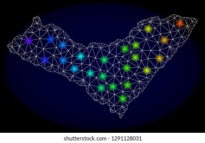 Mesh vector map of Alagoas State with glare effect on a dark background. Light spots have bright rainbow colors. Abstract lines, triangles, light spots and points forms map of Alagoas State.