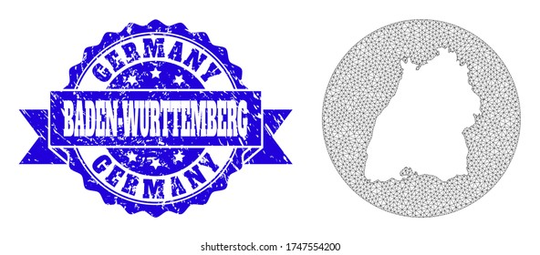Mesh vector map of Baden-Wurttemberg State with grunge seal stamp. Triangular mesh map of Baden-Wurttemberg State is a hole in a circle. Blue round textured seal with ribbon.