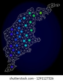 Mesh vector map of Gotland Island with glare effect on a dark background. Light spots have bright spectrum colors. Abstract lines, triangles, light spots and points forms map of Gotland Island.