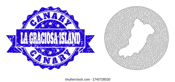 Mesh vector map of La Graciosa Island with grunge seal stamp. Triangle mesh map of La Graciosa Island is subtracted from a round shape. Blue round grunge seal with ribbon.