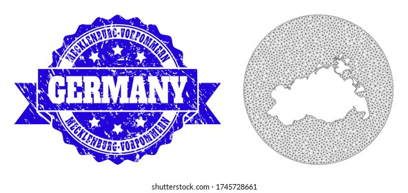 Mesh vector map of Mecklenburg-Vorpommern State with grunge stamp. Triangular mesh map of Mecklenburg-Vorpommern State is a hole in a round shape. Blue rounded grunge stamp with ribbon.