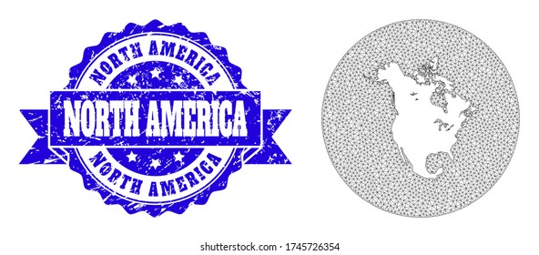 Mesh vector map of North America with grunge seal stamp. Triangle network map of North America is a hole in a round shape. Blue rosette grunge stamp has ribbon.