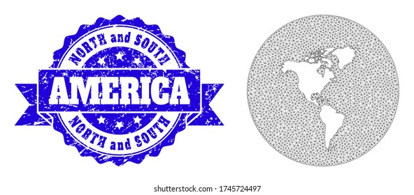 Mesh vector map of South and North America with scratched seal stamp. Triangle network map of South and North America is a hole in a round shape. Blue round distress stamp with ribbon.