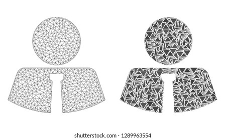 Mesh vector mister with flat mosaic icon isolated on a white background. Abstract lines, triangles, and points forms mister icons. Wire carcass flat triangular line network in vector format,
