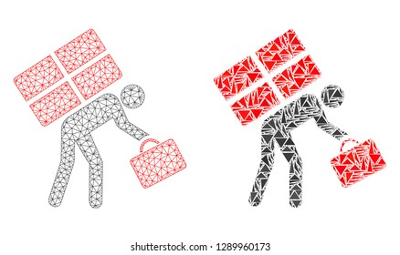 Mesh vector refugee persona with flat mosaic icon isolated on a white background. Abstract lines, triangles, and points forms refugee persona icons.