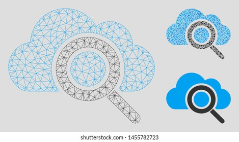 Mesh view cloud model with triangle mosaic icon. Wire frame polygonal mesh of view cloud. Vector mosaic of triangle parts in variable sizes, and color tints. Abstract 2d mesh view cloud,