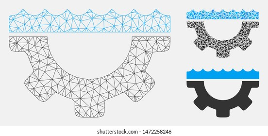 Mesh water service gear model with triangle mosaic icon. Wire frame triangular mesh of water service gear. Vector mosaic of triangle parts in variable sizes, and color tinges.
