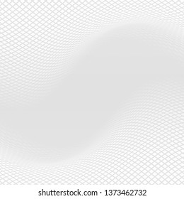 Mesh wavy halftone background. Grey elegant backdrop with square halftone. Abstract monochrome halftone illustration.