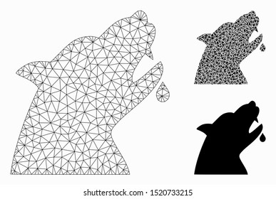 Mesh werewolf model with triangle mosaic icon. Wire frame triangular mesh of werewolf. Vector mosaic of triangles in variable sizes, and color tones. Abstract flat mesh werewolf,