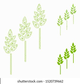 Mesh wheat plants model with triangle mosaic icon. Wire carcass polygonal mesh of wheat plants. Vector mosaic of triangle parts in various sizes, and color shades. Abstract flat mesh wheat plants,