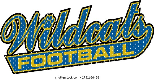 mesh wildcats football team design in script with tail for school, college or league