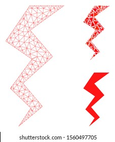 Mesh zigzag strike model with triangle mosaic icon. Wire frame polygonal mesh of zigzag strike. Vector mosaic of triangle parts in various sizes, and color tones. Abstract 2d mesh zigzag strike,