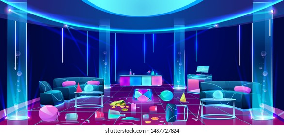 Mess and chaos in empty nightclub after weekend party cartoon vector concept with balloons, paper cups, broken glasses, flipped upside down furniture, scattered on dirty dance floor illustration
