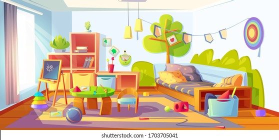 Mess in kids room, messy empty child bedroom interior with unmade bed and scattered toys on carpet. Clutter apartment indoors area with furniture and equipment for games, Cartoon vector illustration
