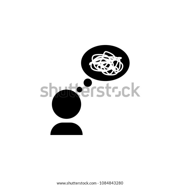 Mess in thoughts icon. Simple element illustration. Mess in thoughts symbol design from mess collection. Can be used in web and mobile on white background