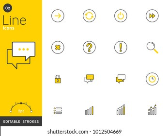 Message and basic line icons collection, editable strokes. For mobile concepts and web apps. Vector illustration, clean flat design.