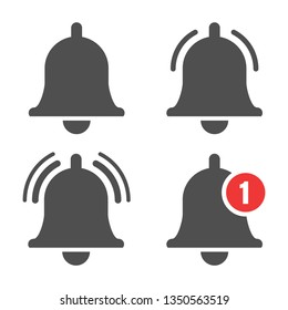 Message bell icon. Doorbell icons for apps like youtube, alert ringing or subscriber alarm symbol, channel messaging reminders bells