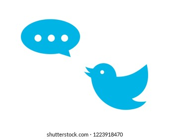 Message and bird icon. Vector illustration.