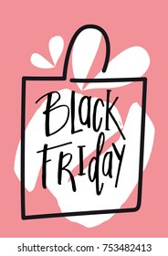 Message Black Friday. Pink background. Text handmade. White bag. Paint stains.