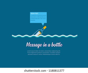 Message in a bottle corporate/buisness design.Bottle floating with digital text message over it.Bottle, Message and wave vector design.