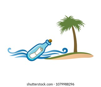 Message In A Bottle Logo In Isolated White Background