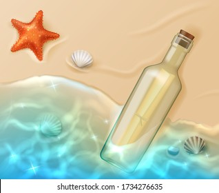 Message in bottle top view, paper scroll in glass flask covered with cork lying on sandy beach with blue sea water, starfish and shells. Pirate map, request for help, sos cartoon vector illustration