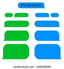 Message bubble chat for text, sms. Chat messenger at bubble form in flat style. Blank message for text for web, phone with green and blue color. vector eps10