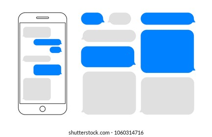 Message bubbles chat on smartphone icons. Vector design template of message bubbles chat boxes