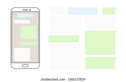 Message bubbles chat for smartphone design template. Vector message bubbles chat boxes for smart mobile phone messenger