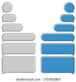 Message bubbles icons. Phone SMS Chat Bubbles. Different smartphone bubble isolated on white background.