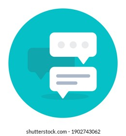 Message bubbles with smartphone, icon of mobile chat app