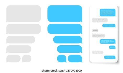 Message bubbles. Text balloon on phone dispaly. Vector design template for messenger chat