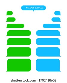Message bubbles for text chat. Sms, mms, speech box in mobile phone app. Green and blue interface of dialogue. Blank template messenger for conversation or talk. Social speach service. Vector.